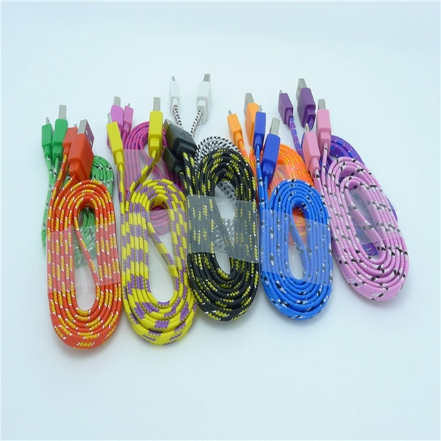 Wholesale 500pcs/Lot 1M 3ft Durable flat Braided Fabric Micro USB 2.0 Data Charger Cable For Samsung Blackberry for HTC