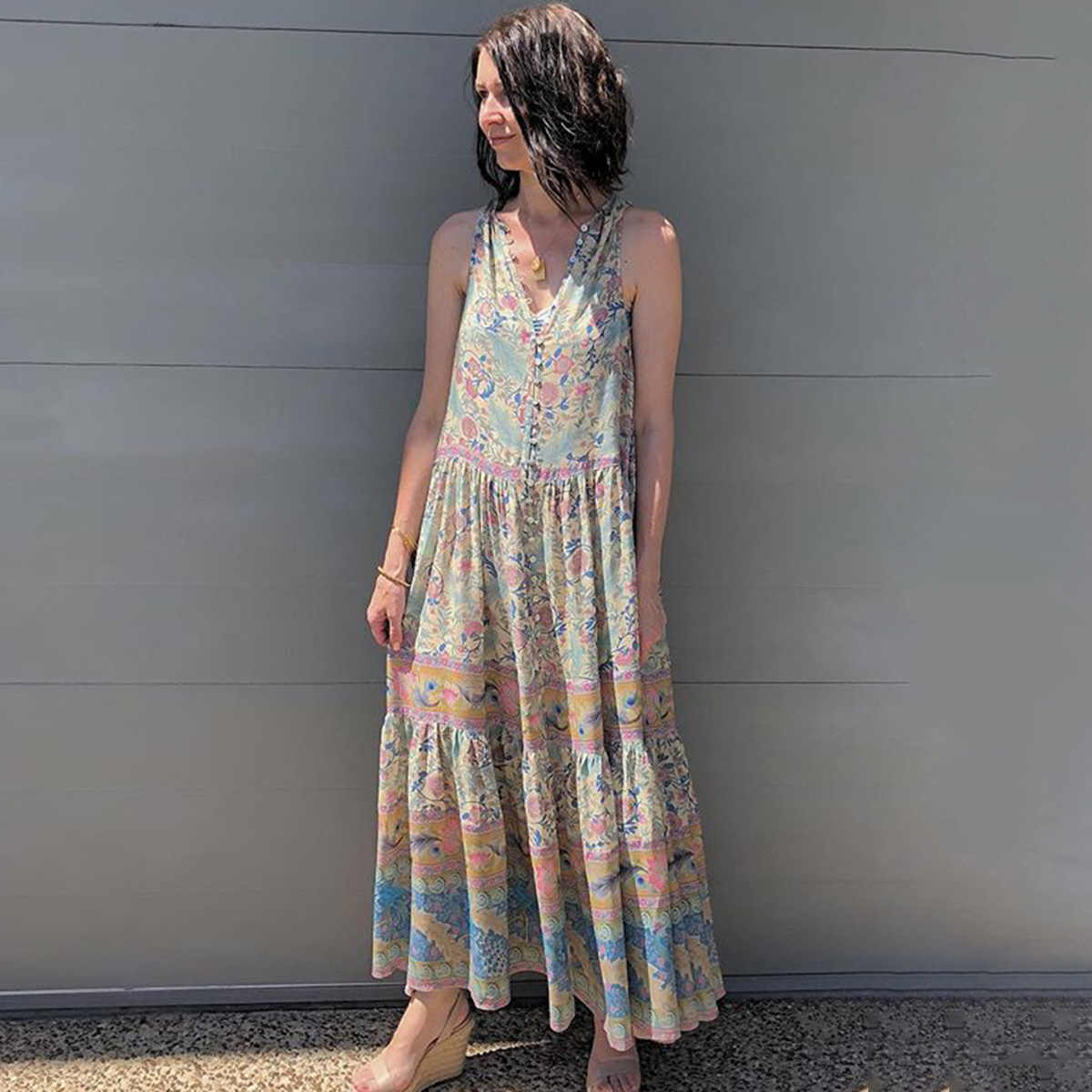 567dbff623bc Jastie Oasis Maxi Dress Gypsy Print Maxi Dresses V-Neck Sleeveless Vest  Beach Long Dress