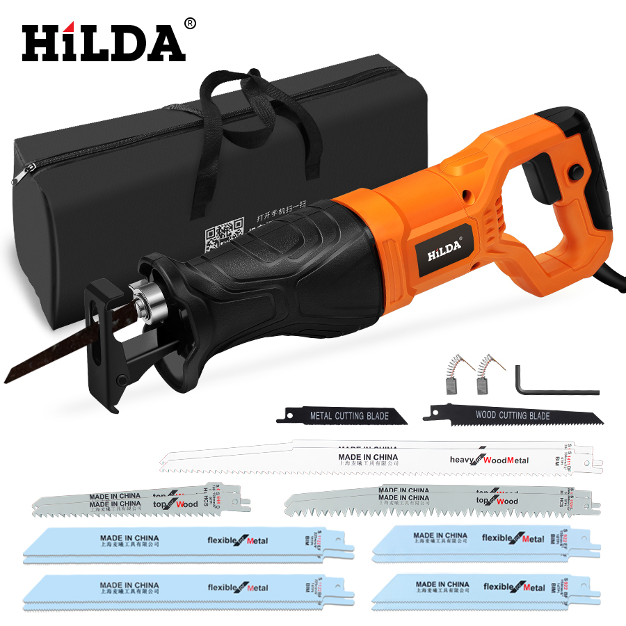HILDA Electric Saw Reciprocating Saw for Wood Metal Plasitic Pipe Cutting Power Saw Tool with Saw Blades-in Electric Saws from Tools on