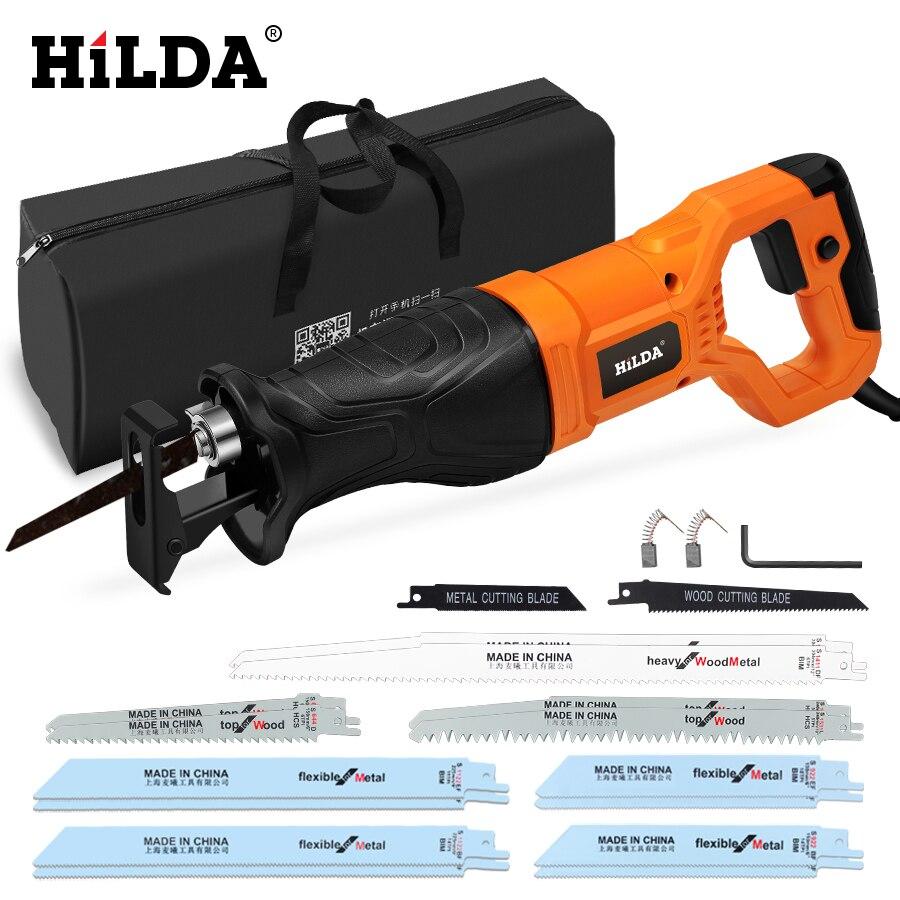 Hilda serra elétrica reciprocating serra para madeira metal plasítico ferramenta de corte de tubulação serra elétrica com lâminas de serra