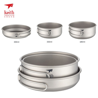 Keith 3PCS Titanium Cookware Pans Bowls Set With Folding Handle Cook Sets Outdoor Traving Hunting Camping Cooking Set Ti6053