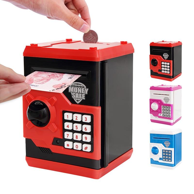 Electrónica Piggy caja fuerte de Banco cajas de dinero para los niños Digital monedas en efectivo de ahorro de caja Mini máquina ATM chico regalo ATM-ZH