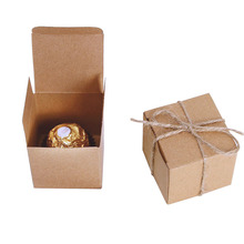 100 Pcs Kraft Square Wedding Favor Gift Boxes Party Wedding Favor Holder Chocolate Box Sweet Candy Bag