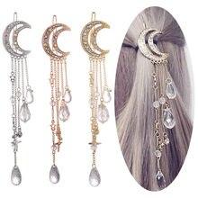 293ebbf4b989 Moda elegante señora de las mujeres Moon Rhinestone Crystal cadena larga  borla cuelgan horquilla joyería del Clip del pelo