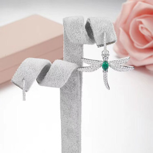 Image 5 - SLJELY 925 Sterling Silver Dragonfly Asymmetric Earrings Inlayed Green Red Blue Cubic Zirconia for Women Insect Fine Jewelry