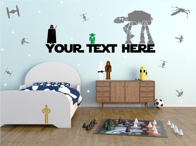 Stickers Voor Op De Muur.Custom Naam Muursticker Star Wars Buitenste Ruimte Home Decor