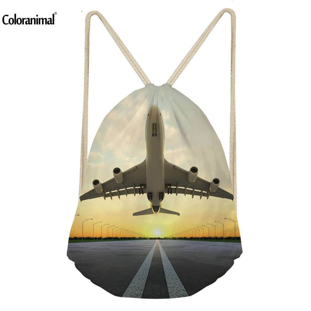 Coloranimal Airplane Printed School Bags Casual Men's Shoulder Backpack Travel Shopping Drawstring Bags Boy Bolsa Feminina Mujer