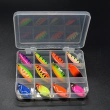 WLDSLURE 12 шт смешанные 2g/3.5g/5g рыболовный ящик металлическая наживка блесна приманка комплект приманка для форели рыболовные снасти