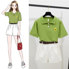 2019 Summer  Women's Two-piece Korean Fashion Casual Top with Belted Shorts Wide Leg Pants 2piece Set Women Pullover Embroidery self belted wide leg shorts