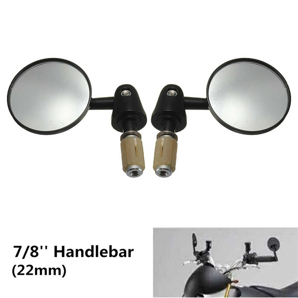 "7/8"" 22mm Exterior Diameter Handlebar Rotatable Collapsible Aluminum Round Shape Motorcycle Bar End Rearview Convex Side Mirror"
