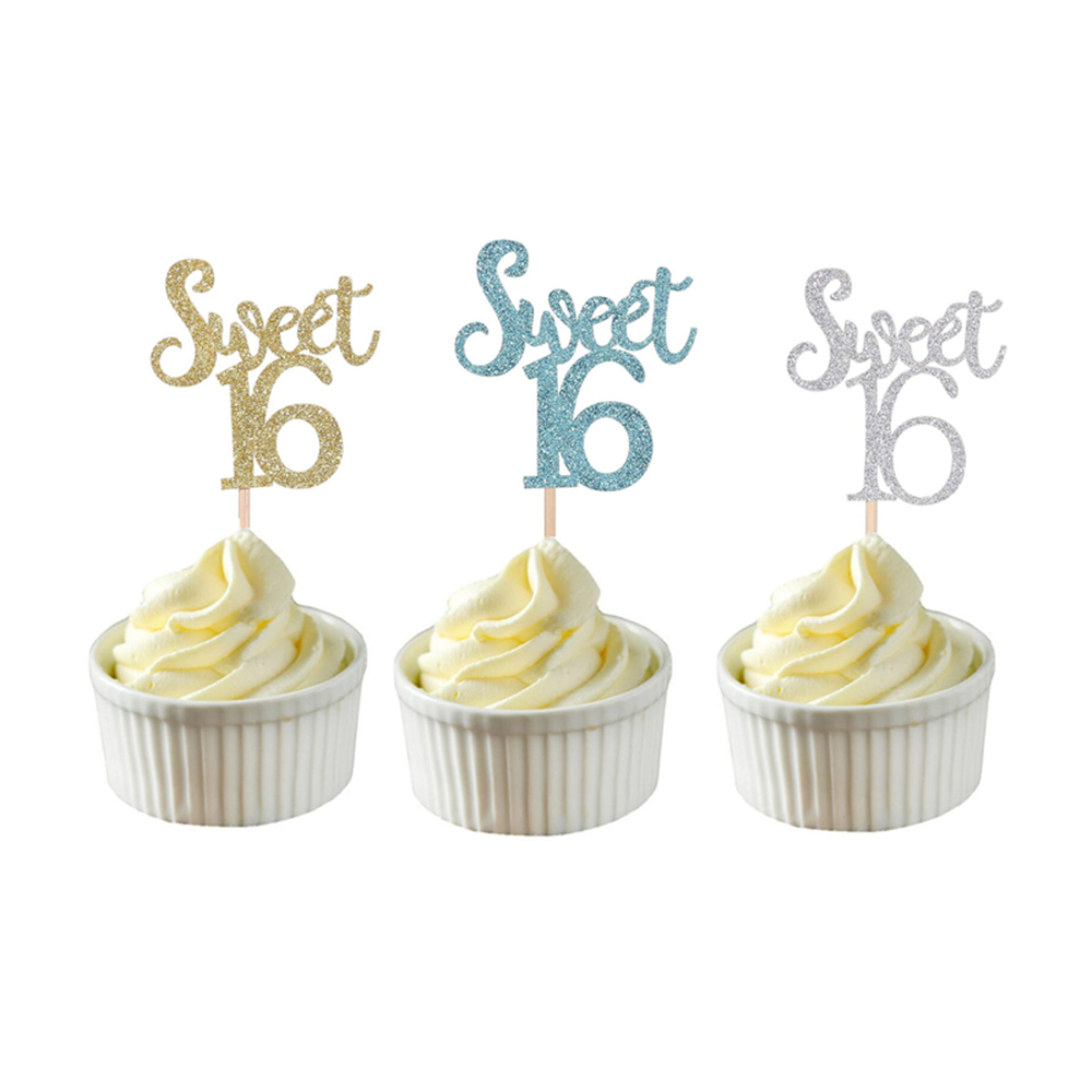 Image 5 - 10pc Gold & Silver & Blue Sweet 16 Cake Topper Letter Cupcake Toppers 16th Happy Birthday Party Cake Decoration Christmas 2019,Q-in Party DIY Decorations from Home & Garden