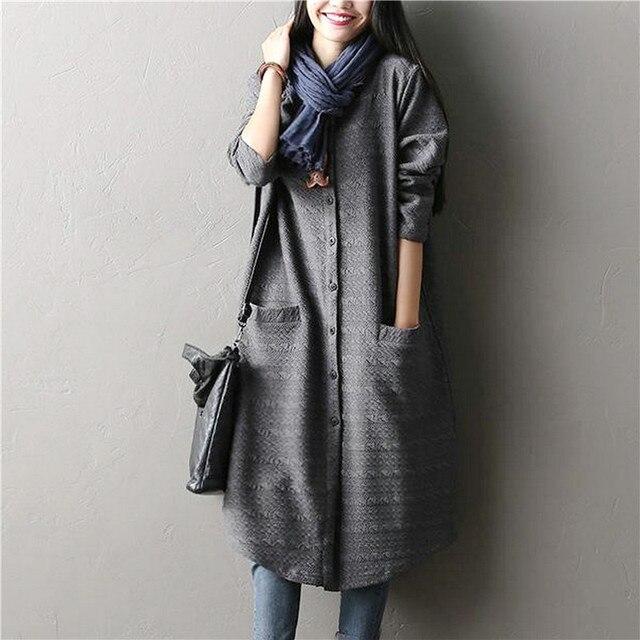 Casual Крупноразмерного Хлопчатобумажных Длинное Пальто Для Женщин Осень Новой Шубки