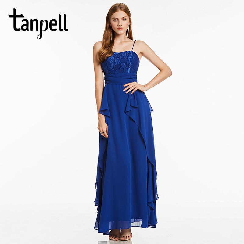 Tanpell spaghetti strap long   evening     dress   dark royal blue sleeveless draped ankle length   dress   cheap black party   evening     dress