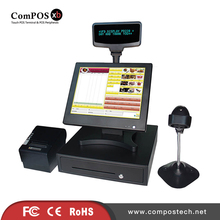 A whole set of POS8815 15 inch pos touch screen system all in one pc stand with accessoreis