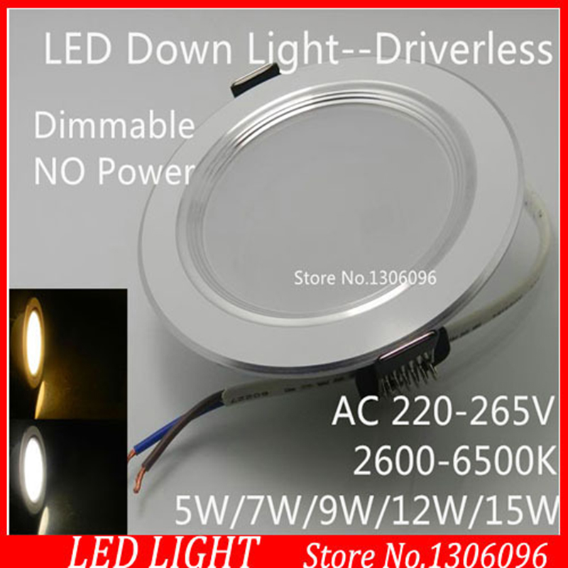 100pcs/lot Wholesale dimmable LED Down Light AC220-240V 5W/7W/9W/12W/15W high lumens SMD downlight for home lighting