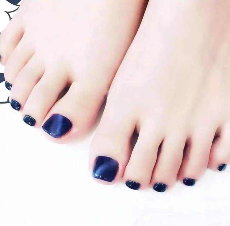 Online Shop Blue cat eye pattern UV gel false nails for toe ...