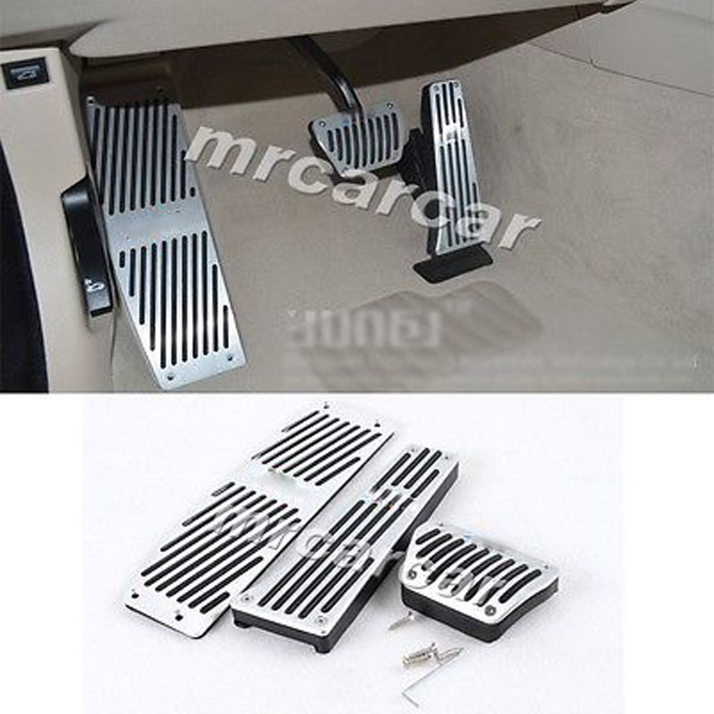 Free Shipping Alloy Aluminium AT Pedals No Drilling Fuel Brake Foot Rest Pad Fit For BMW E46 E90 E92 E93 E87 brand new 3pcs aluminium non slip foot rest fuel gas brake pedal cover for volvo xc60 at 2015 2017