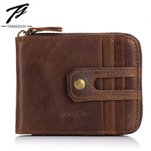 все цены на Men Leather Wallet Card Holder Male Fashion Short Purses Small Hasp Wallets Mini Vintage Slim Money Bag DropShipping carteira онлайн