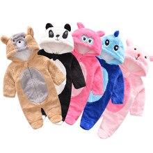 Monos de bebé cálidos invierno otoño lindo Oso de dibujos animados panda  franela bebé niña mameluco infantil ropa de niño recién. 2af62c072066