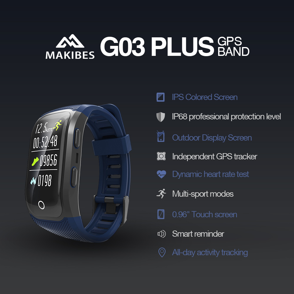 Makibes G03 Plus Color Screen Men watch Activity Fitness Tracker Wristband IP68 Waterproof GPS Heart Rate Monitor bracelet-in Smart Wristbands from Consumer Electronics    2