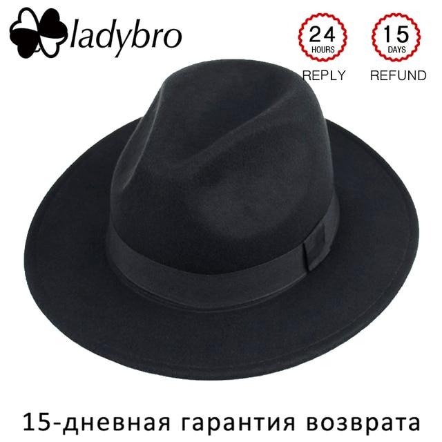 3f942bb4353 Ladybro Wide Brim Panama Hat Women Autumn Winter Hat Men Imitation