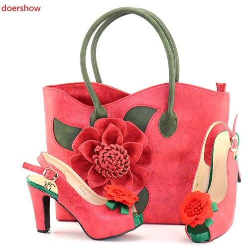 все цены на doershow African Women Matching Italian red color Shoes and Bag Set Decorated with Rhinestone Italian Ladies Shoe and Bag SAB1-2 онлайн