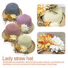 Women summer large brim  sun hats Elegant flowers handmade crochet straw hat female beach protection bohemian