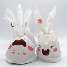 20 pcs Cute White Rabbit Ear Print Cookie Plastic Bags Birthday Wedding Candy Biscuit Chocolate Packaging Paper Gift Bags PB012(China (Mainland))