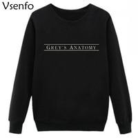 Vsenfo Womens Hoodies Grey S Anatomy Letters Printed Sweatshirt Crewneck Pullover Long Sleeve Sweatshirts Autumn Coat