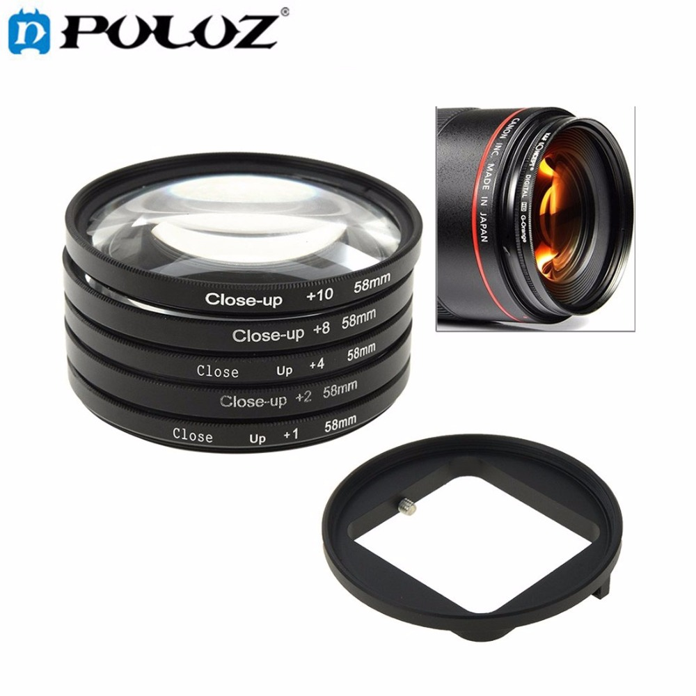 For Go Pro Accessories 6 in 1 58mm Close-Up Lens Filter Macro Lens Filter + Filter Adapter Ring for GoPro HERO3 HERO 3