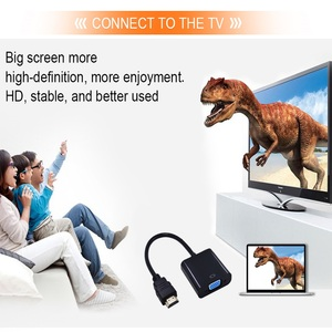 Image 3 - Tishnic HD 1080P adaptador de HDMI a VGA, convertidor de Audio de Cable macho a hembra, Digital a analógica, HDMI, VGA, adaptador de Cable de Audio para TV