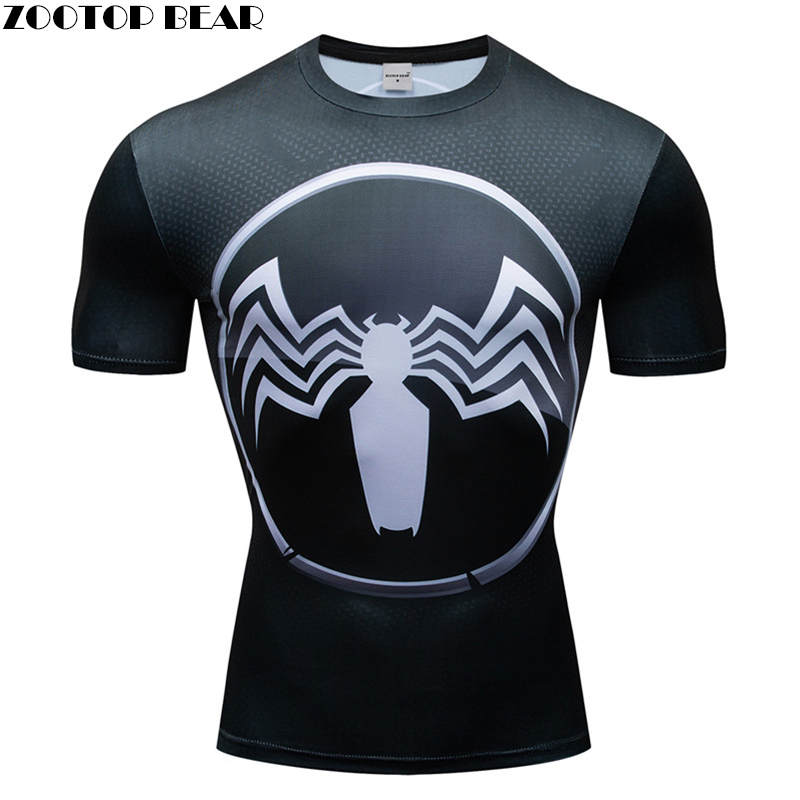 Venom 3D t shirt Men Compression Short Sleeve T-shirt Top Bodybuilding Fitness Male Tshirt Crossfit Homme Anime Tee Costume