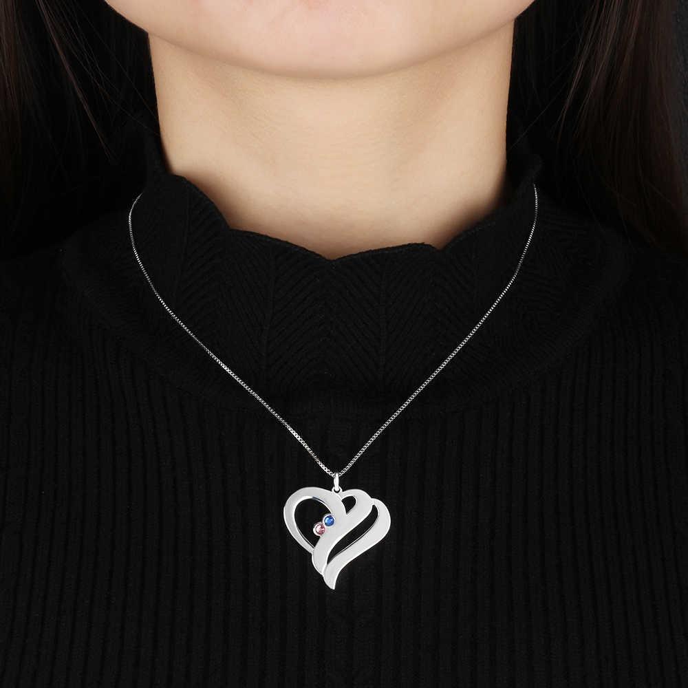 Femmes nom personnalisé colliers et pendentifs personnalisé pierre de naissance coeur pendentif en acier inoxydable bijoux gravés (bijouora NE102360)