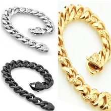 Top Quality Silver/Gold/Black Tone choose 316L Stainless Steel 15MM Curb Cuban Chain Bracelet Bangle Jewelry 8.66″ Mens Jewelry