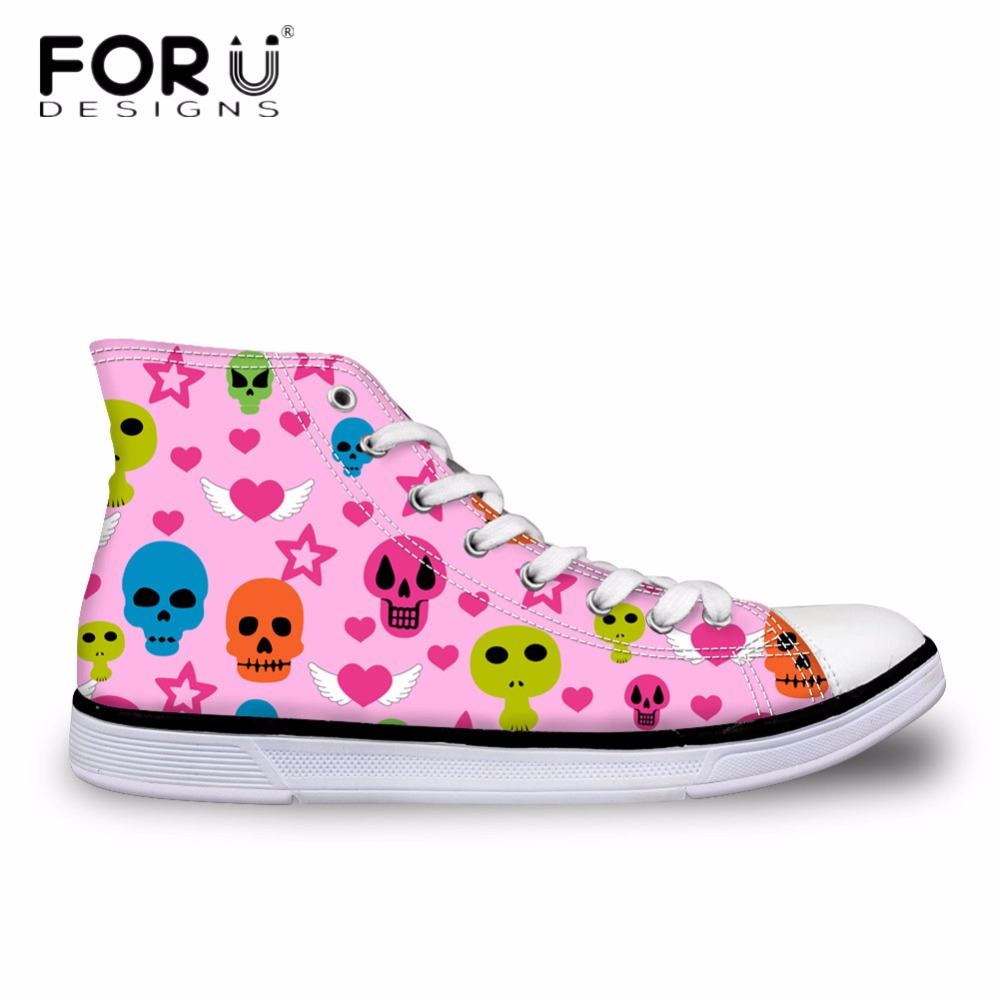 2aa1ca62ee96 FORUDESIGNS Casual High Top Vulcanize Shoes for Women Cute Punk Skull Printed  Women's Canvas Shoes Vintage Female Flats Lace-up