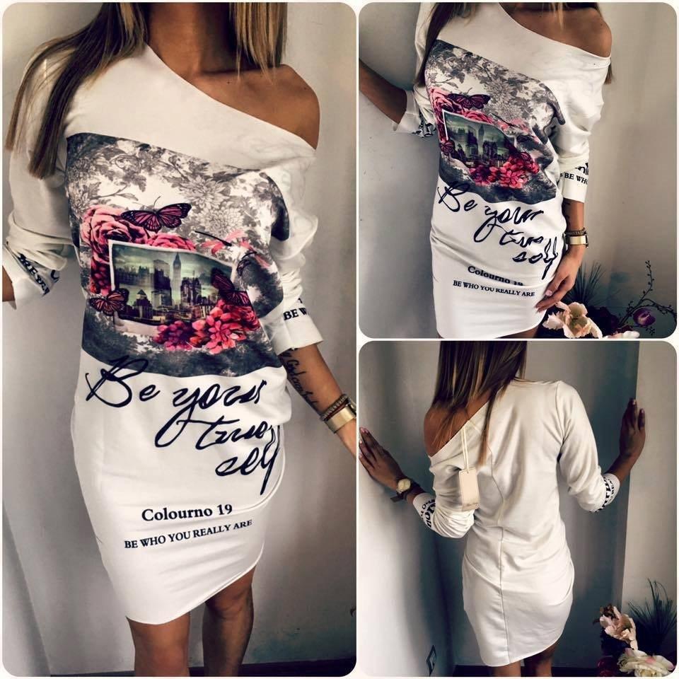Off Shoulder Sexy Dress Women Print Dress Long Sleeve 2019 Spring Summer Casual Cartoon Dresses Women O-Neck Mini Short Dress