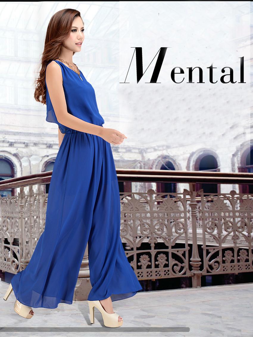 Chiffon Lace Jumpsuits mono mujer largo casual body suits for women combinaison pantalon femme elegante Wide leg pants 4