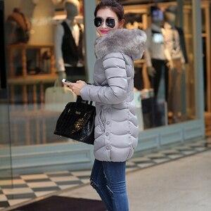 Image 4 - Chaqueta con capucha de piel para mujer, abrigo fino de algodón, abrigo elegante informal de manga larga para mujer, gran abrigo de piel, Parka de talla grande 4XL 2019