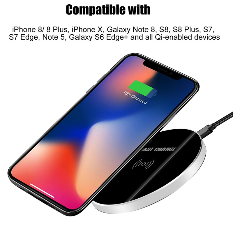 Qi Wireless Fast Charger For Apple Iphone 8 PLUS X Case Wireless Charger Power Bank Charging Pad For Samsung Galaxy S8 S9 Plus +