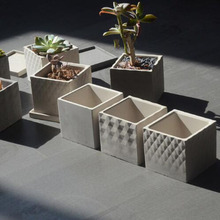 Square cement flowerpot silicone mold Nordic simplified indu