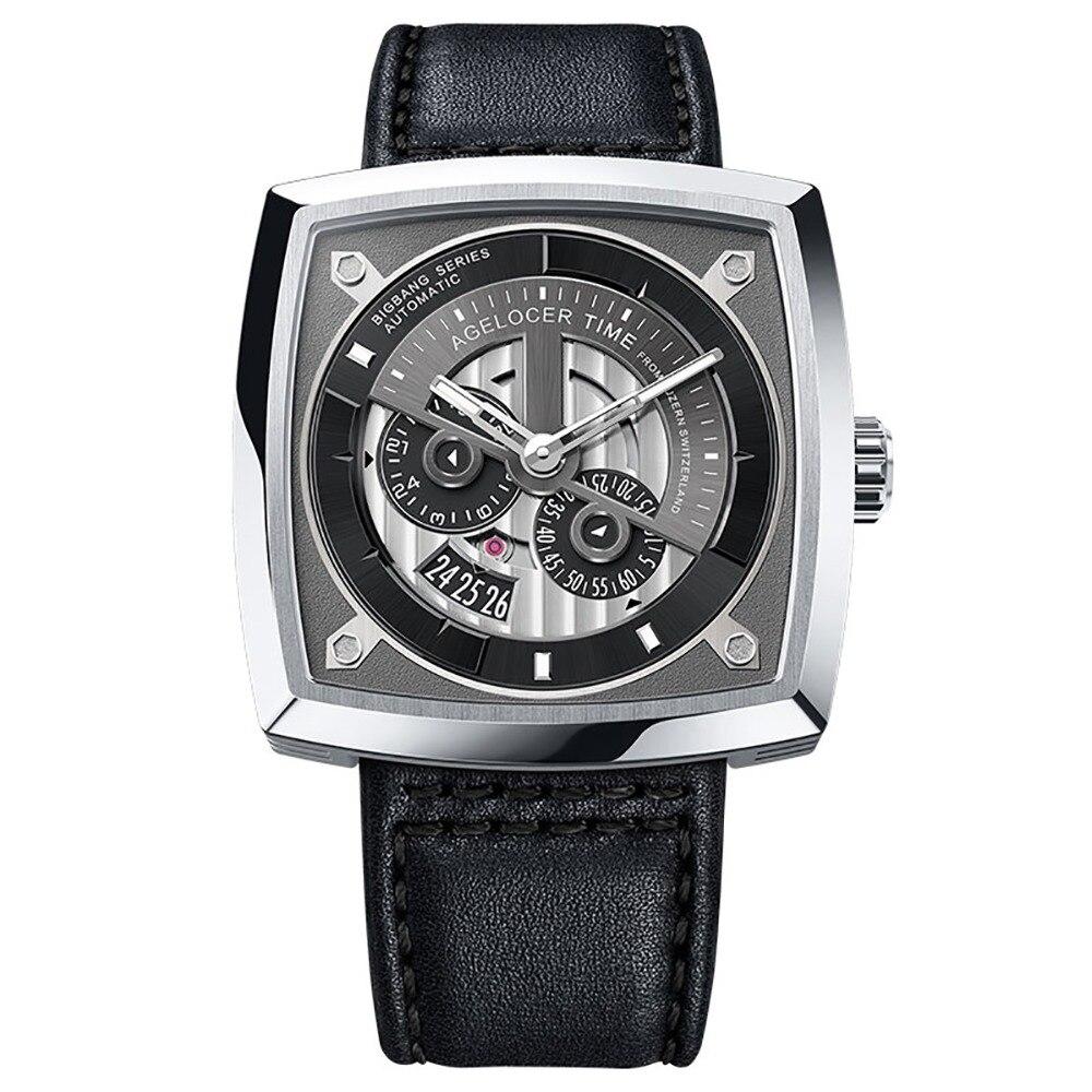 2019 Agelocer Top marque de luxe hommes montre de mode montre automatique bracelet en cuir grand carré squelette montres étanche 5601A1