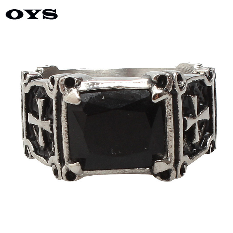 Classic Style Black Onyx 316 L Stainless Steel Wedding Party Fashion Design Retro Punk Cross Ring Size 7 8 9 10 11