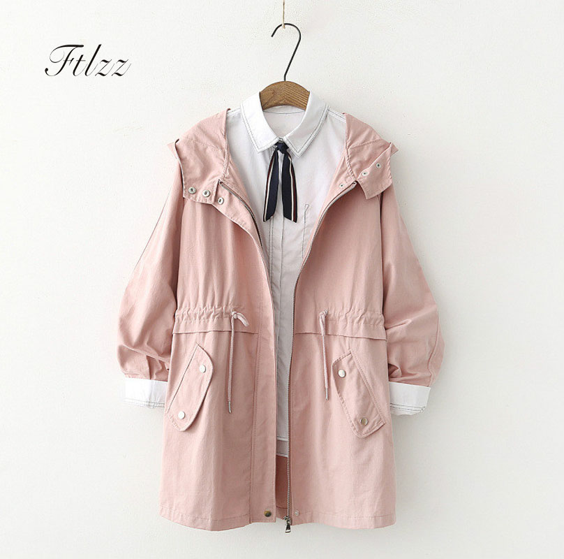 2018 Spring Autumn Women   Trench   Coat Casual Hooded Zipper Medium Long   Trench   Coats Female Black Overcoat Harajuku Windbreaker