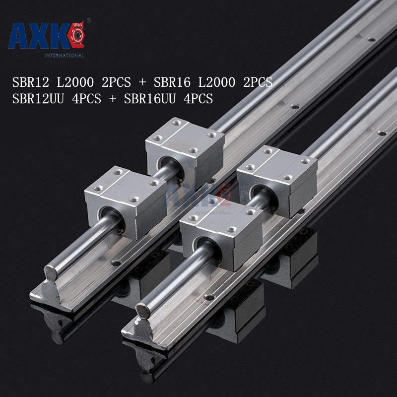 2pcs SBR16 L2000mm Linear Rails + 4pcs SBR16UU+2pcs SBR12 L2000mm +4PCS SBR12UU straight-line motion block for SFU Ball screw