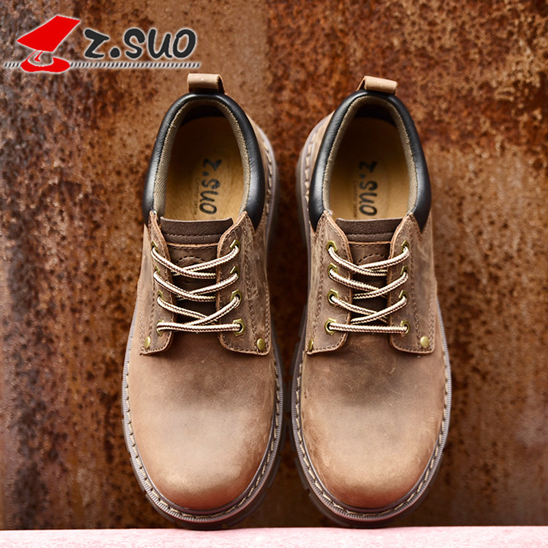 Z.Suo 2018 New Fashion Genuine Leather Men Shoes Spring Autumn Lace Up Casual Shoes For Man Retro Men'S Flats High Quality 18507 new spring autumn genuine leather men casual shoes man flats fashion suede flat handmade shoe waterproof non slip high quality