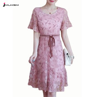 New Elegant 2018 Women Summer Dress Hlaf Sleeve Pink Lace Dress Vestidos O neck Hollow Party Dresses Clothes For Women P173