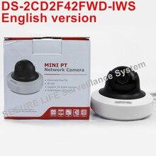 На складе Английская версия DS-2CD2F42FWD-IWS 4MP WDR Мини PT Сетевые Камеры видеонаблюдения, МИНИ WI-FI IP-КАМЕРА POE SD карты записи, сигнализация