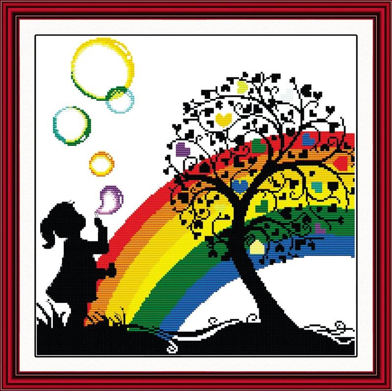 Rainbow Bubble Girl Kid Cartoon Needlework,DMC Cross stitch,Baby Embroidery kits,Patterns Counted Cross-Stitching,DIY Handmade