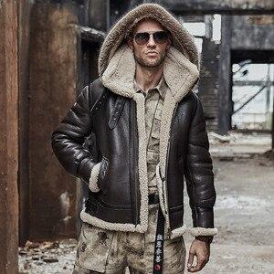 Image 2 - men genuine leather jacket man real original ecological sheepskin coat raccoon fur detachable hood winter jackets short design