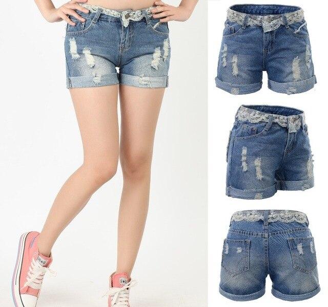 2015 lace waist plus size XXL~9XL denim shorts women short pants jeans,pantalones cortos mujer,short feminino,vetement femme